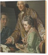Self-portrait With His Wife Marie-suzanne Giroust Wood Print