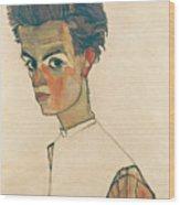 Self-portrait With Striped Shirt Wood Print