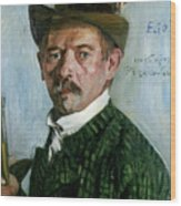 Self Portrait With Tyrolean Hat Wood Print