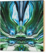 Self Reflection - Blue Green Wood Print