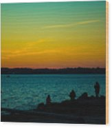 Selfie Sunset Wood Print