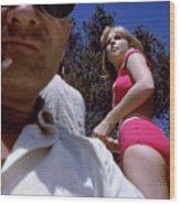 Selfie With Pink Bikini Girl Wood Print