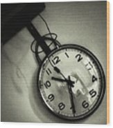 Selfportrait On A Clock Wood Print