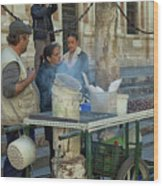 Selling And Roasting Chestnuts Wood Print