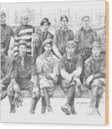 semipro baseball 1908 CO railroad pencil portrait Wood Print