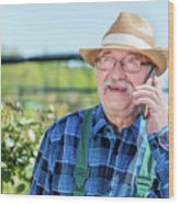 Senior Gardener Talking On The Phone With A Client. Wood Print