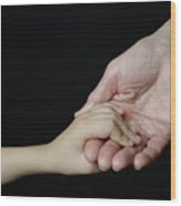 Senior Woman And Girl Holding Hands Wood Print