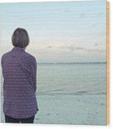 Senior Woman On The Beach  Wood Print