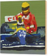 Senna And Mansell Wood Print