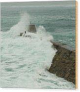 Sennen Cove Breakwater Wood Print
