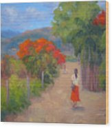 Senorita In A Red Skirt Wood Print