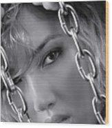 Sensual Woman Face Behind Chains Wood Print