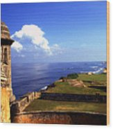 Sentry Box And Sea Castillo De San Cristobal Wood Print