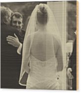 Sepia 3 Wedding Couple Example Wood Print