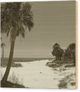 Sepia Beach Wood Print