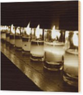 Sepia Candles Wood Print
