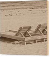 Sepia Chairs Wood Print
