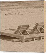 Sepia Chairs Wood Print