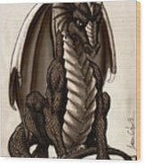 Sepia Dragon Wood Print