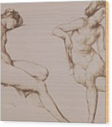 Sepia Drawing Of Nude Woman Wood Print