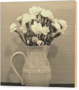 Sepia Gold Pitcher Of Carnations Wood Print