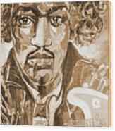 Sepia Jimi Wood Print