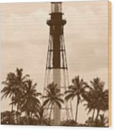 Sepia Light House  Wood Print