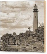 Sepia Lighthouse Wood Print
