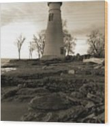 Sepia Marblehead Lighthouse Wood Print