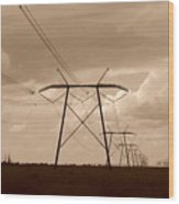 Sepia Power Wood Print