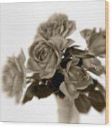 Sepia Roses Wood Print