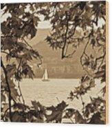Sepia Sailboat Wood Print