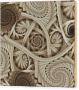 Sepia Swirls Fractal Art Wood Print