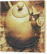 Sepia Toned Old Vintage Domed Kettle Wood Print