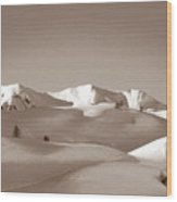 Sepia Toned Snowy Mountain Wood Print