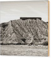 Sepia Tones Nature Landscape Nevada  Wood Print