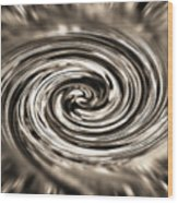 Sepia Whirlpool - Derived From Ribbon Grass Plant Image Wood Print