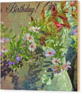 September Birthday Aster Wood Print