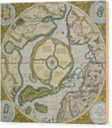 Septentrionalium Terrarum Descriptio Wood Print by Gerardus Mercator