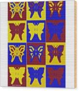 Serendipity Butterflies Brickgoldblue 1 Wood Print