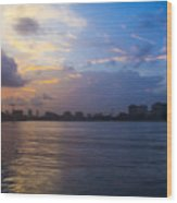 Serene City At Dusk Wood Print
