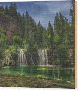 Serene Hanging Lake Waterfalls Wood Print