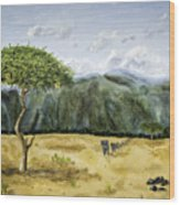 Serengeti Painting Wood Print