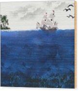 Serenity At Sea Wood Print