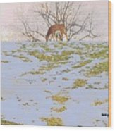 Serenity In The Spring Snow Wood Print