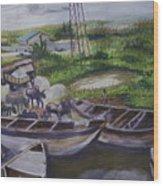 Serenity Of Waterside Wood Print