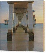 Serenity Under The Pier Wood Print