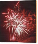 Series Of Red And White Fireworks Wood Print