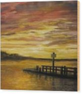 Sesuit Harbor At Sunset Wood Print by Jack Skinner