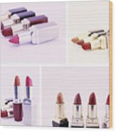 Set Of Lipsticks For Woman Beauty Wood Print
